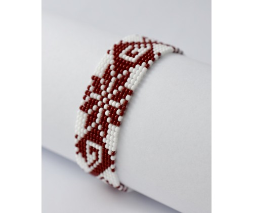 folk bracelet- red and white