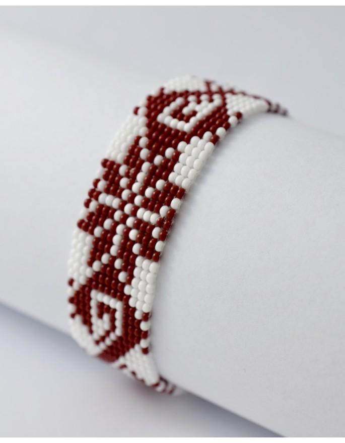 folk bracelet- red and white