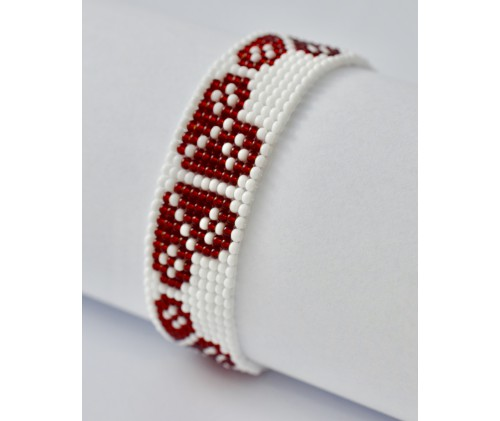 folk bracelet- red heart