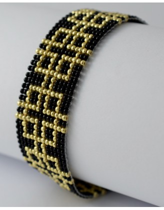 folk bracelet- gold and black